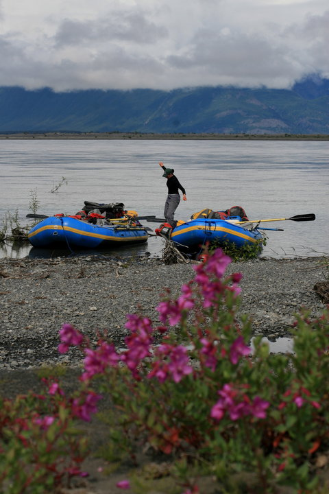 Improving my balance, rafting on the Copper River