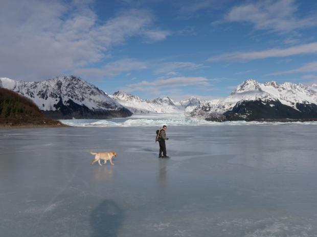 Bert and Monte skating on Sherdian Lake, Cordova AK