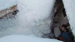 The snow cave into their back door (escape route).