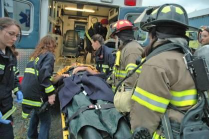 CVFD medics practice treating a burn victim