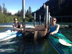 about to brave the weir in our kayaks