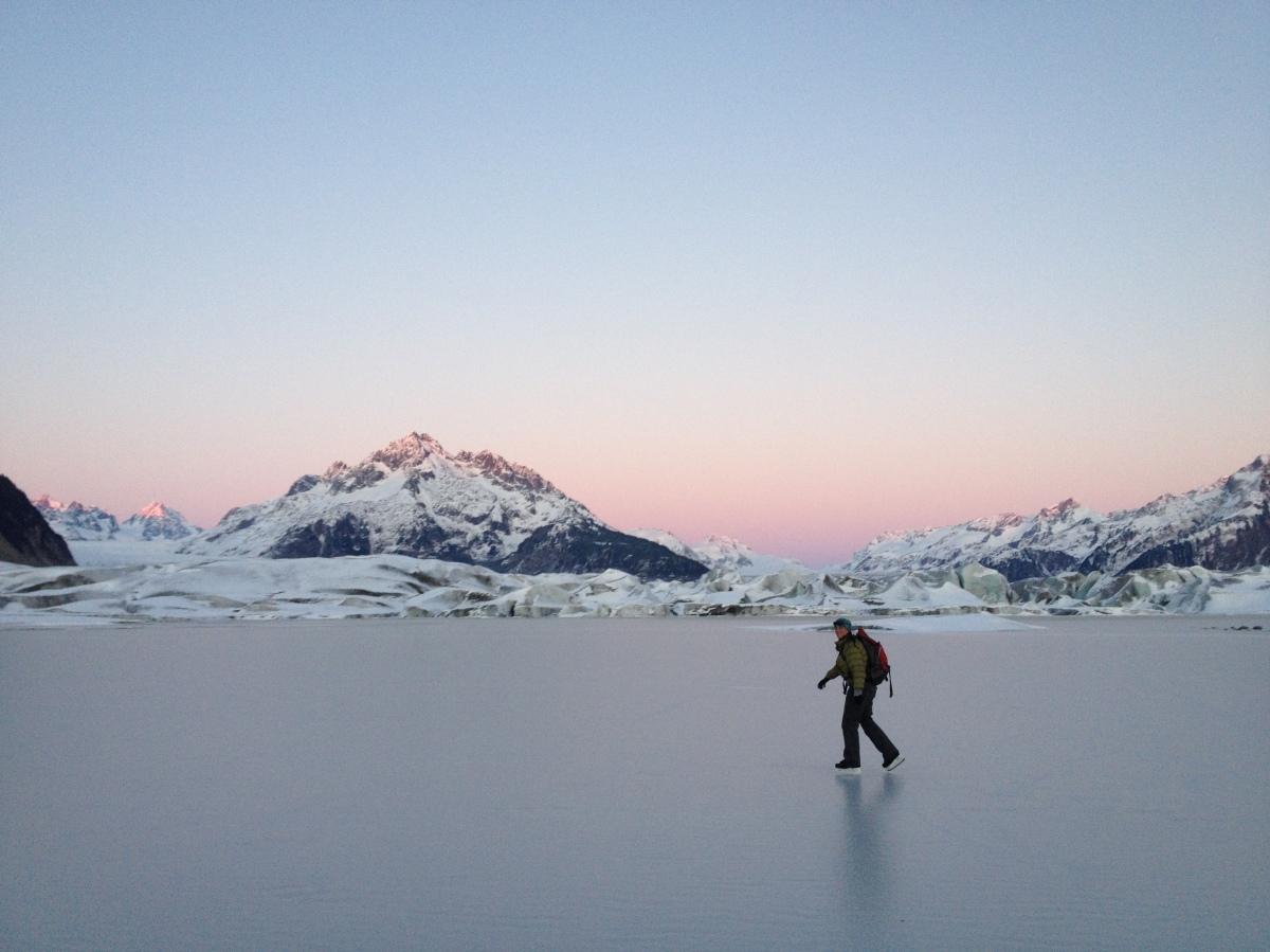Skating at Sheridan Glacier